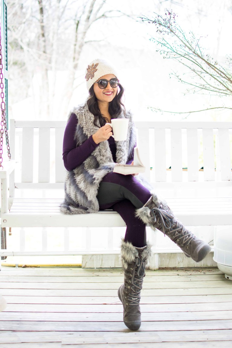 Picture of blogger, Love Playing Dressup, wearing the MUK LUKS® COLD WEATHER LACED BOOT W/ FAUX FUR TRIM.
